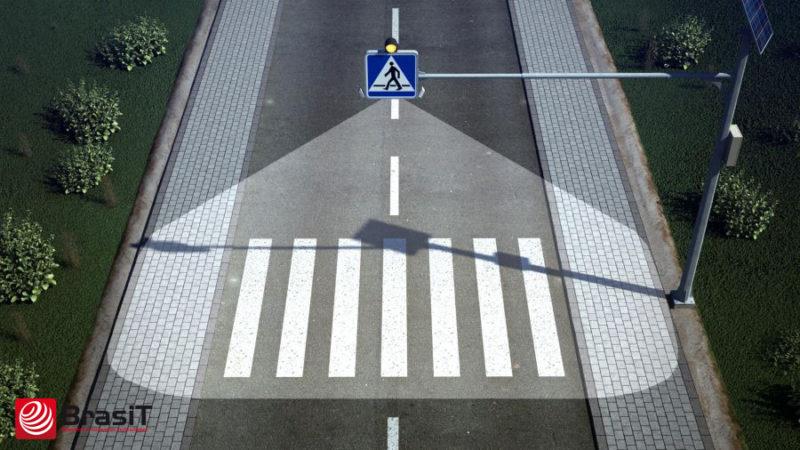 Solarny znak aktywny D6 z podświetleniem przejścia dla pieszych- BrasiT