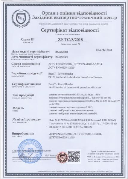 Сертифікат відповідності brasiT